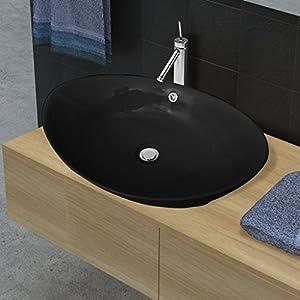 Festnight Lavabo Oval Desagüe – Color de Negro Material de Cerámica, 59 x 38,5×19 cm