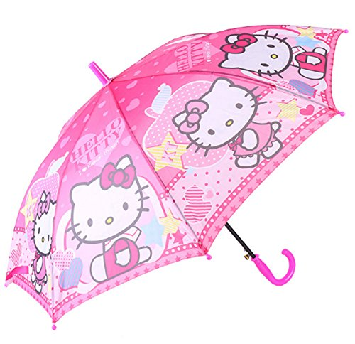 Kid's Cartoon Umbrella Hello Kitty Girl's Umbrella Brolly Sun Rain (PINK)