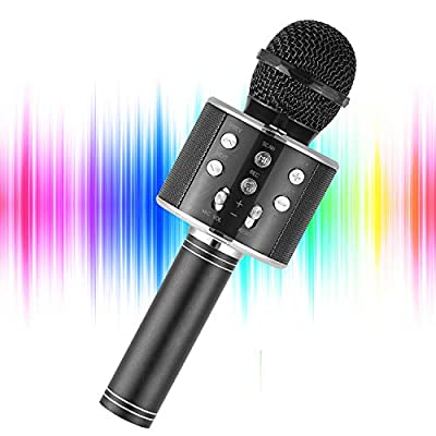 YOHIA Portable Handheld Karaoke Microphone for Kids, Hot Toy Gifts for Girls Teens, Wireless Bluetooth Mic for Android/iPhone/iPad (Black)