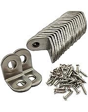 ALLINICE 20 stuks 20 * 20mm roestvrijstalen hoekbeugel L-vormige haakse beugelbevestiging met 40PCS-schroeven