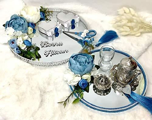 Generic Nazlimshop Nisan Tepsisi damat fincan Set Tablett Verlobung Hochzeit Söz Yüzük Tepsi Ringtablett Ringkissen