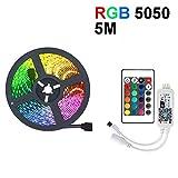 Tira de luz LED de 5M Cinta de cinta DC12V a prueba de agua Más brillante SMD 5050 Tira de luz RGB RGB para luz de fondo del gabinete Lámpara de noche Diodo LED-RGB_5M