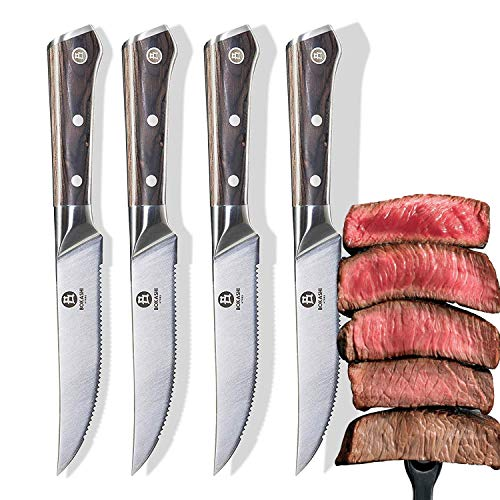 BOKASHI STEEL Set of 4 Serrated Steak Knives - KASAI Series - Vacuum Treated - 5""