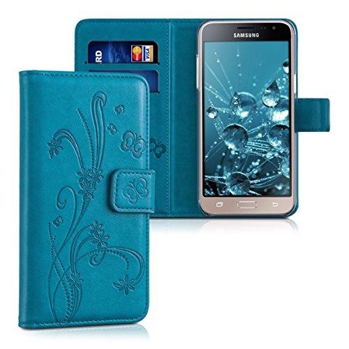 kwmobile Wallet Hülle kompatibel mit Samsung Galaxy J3 (2016) DUOS - Hülle mit Ständer Kartenfächer Ranken Schmetterling Dunkelblau