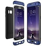 CE-Link Funda Samsung Galaxy S7 Edge, Carcasa Fundas para Samsung Galaxy S7 Edge, 3 en 1 Desmontable Ultra-Delgado Anti-Arañazos Case Protectora - Azul + Negro