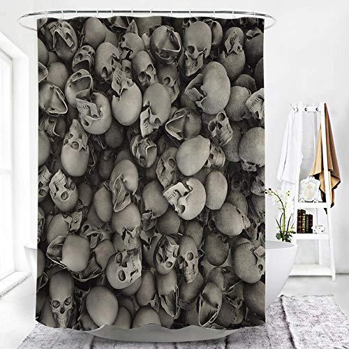 TopTree Duschvorhang Anti-Schimmel & Wasserabweisend Shower Curtain mit 12 Duschvorhangringen 3D Digitaldruck dunkel 180x180cm