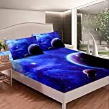 Erosebridal Outer Space Bedding Set Kids Girls Galaxy Blue Girly Fitted Sheet Starry Sky Sheet Set Twin Size for Children Boys Starry Landscape Planet Space Bottom Sheet with 1 Pillow Case