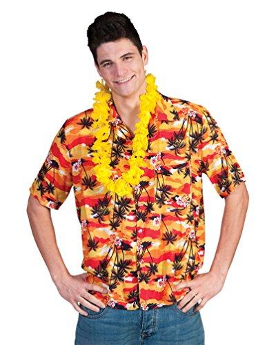 Orange Chemise hawaïenne avec Palmiers pour Party Hawaïen