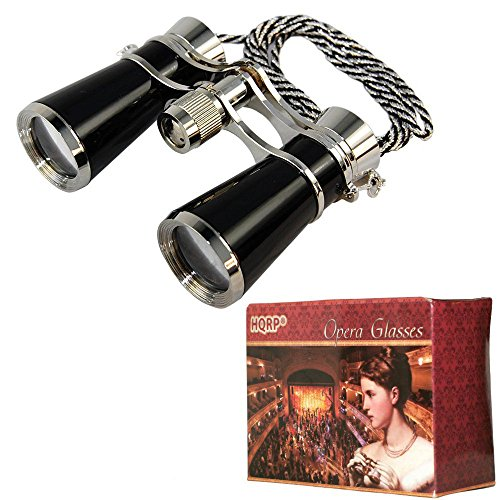 HQRP High Magnification 7x25 Ultra Compact Light Opera Glasses in Elegant Black Pearl Color with Silver Trim and Silver/Black Necklace Chain