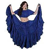 Miss Belly Dance Danza del vientre falda de 25 yardas y traje superior romany y raqs para mujer Talla única Real