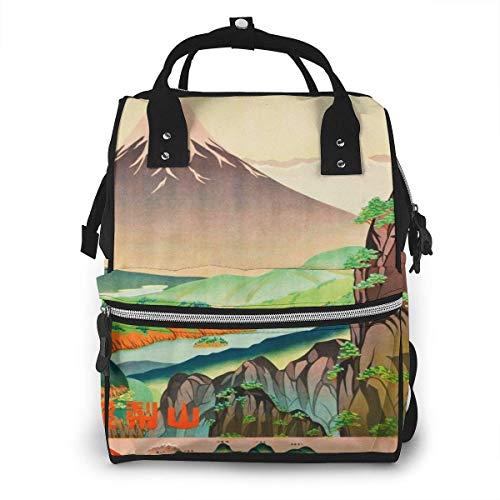 Wickeltasche mit Vintage-Poster, japanisches Design, Wickeltasche, lässiger Reiserucksack, große Kapazität für Mama und Papa
