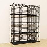 SIMPDIY 本棚 大容量 整理棚 ワイヤー収納ラック 組み立て式 衣類収納ボックス 便利な ワードローブ - 黒(12ボックス)