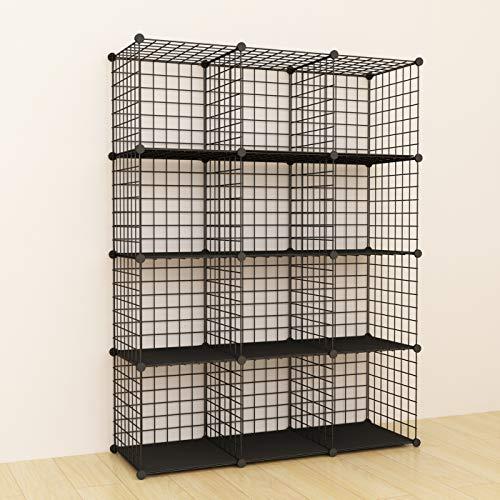 SIMPDIY Aufbewahrung Regalsystem, Drahtgitter Steckregal, 12 Fächer Bücherregal Kleiderschrank, kinderzimmer standregal steckregal (Schwarz, 93x32x124cm)