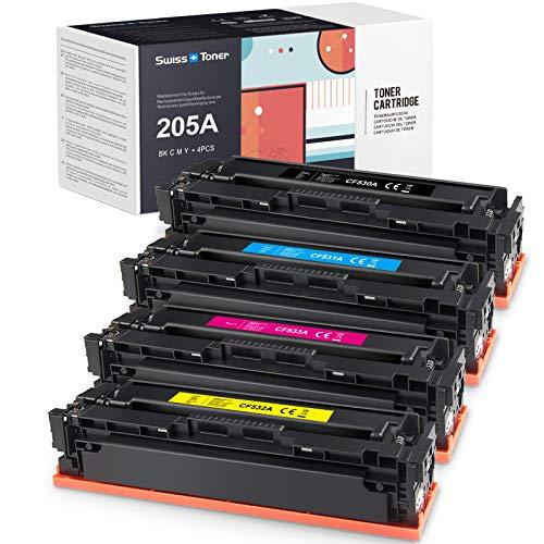 SWISS TONER CF530A Cartucce Toner Compatibile con HP 205A CF530A CF531A CF532A CF533A per HP Color Laserjet Pro M154A M154NW M180 M180N M181 M181FW Stampante, Nero/Ciano/Magenta/Giallo