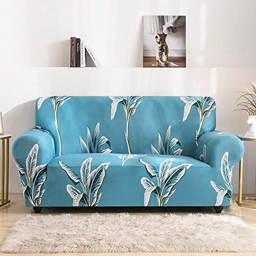 SKYZAHX Funda de Sofá Elástica impresión Universal Funda Cubre Sofas Antideslizante Protector Cubierta de Muebles para Chaise Longue Sofá en Forma de L(Azul,2 plazas: 145-185cm)