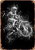 Dreyooy Black and White Dirt Bike Jump Wall Art 12'x 8' Metal Tin Retro Vintage Sign