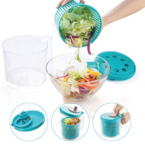 BERELA HOME - GRINDAL Centrifugadora Ensalada, Centrifugadora de Lechugas Color Azul, Escurridor de Ensalada Libre de BPA, Centrifugador de Verduras de 2,5 L