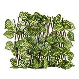 """Ivy Hedge Artificial Pantalla de valla de privacidad Valla de privacidad expansiva Decoración de hojas para decoración al aire libre, patio trasero, jardín, 2 alturas (40 cm / 70 cm, 15,7 """"/ 27,6"""")"""