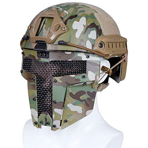 SUNAYC PJ Taktische Fast Helmet Set, Mittelalterliche Eisen-Samurai Vollmaske, Outdoor Sport Fechten Airsoft Paintball Schutzausrüstung,Cp1