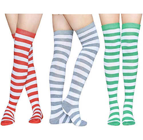 Raylarnia Women's Extra Long Opaque Striped Over Knee High Stockings Socks-Black/White Stripes
