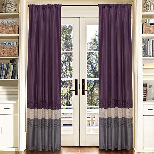 "Lush Decor Mia Curtains | Window Panels Drapes Color Block Stripe Set for Living, Dining, Bedroom (Pair), 84"" x 54"", Gray/Purple"