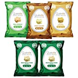 Quevos Keto Low Carb Egg White Chips Variety Pack - Sour Cream & Onion, Rancheros, Pickle, Honey Mustard - Keto Snacks, Gluten Free Snacks, High Protein - 1 oz Bags (Pack of 5)