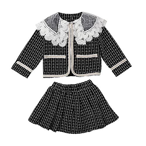 Girls Kids Lace Collar Plaid Coat Dress Tutu Skirt Princess Party Formal Outfits 2Pcs (12, Black)