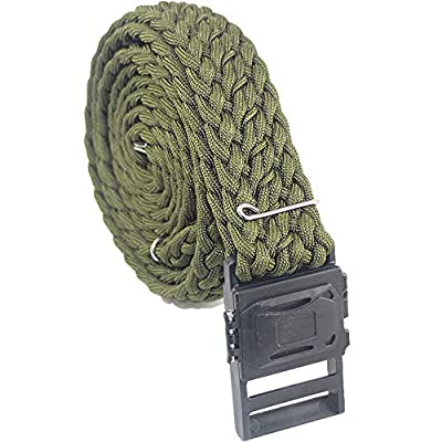 daarcin Survival Paracord Belt, Tactical Belt, Adjustable for Men and Women, with Compass,Fire Stater, Fishing Line and Hook (Green)