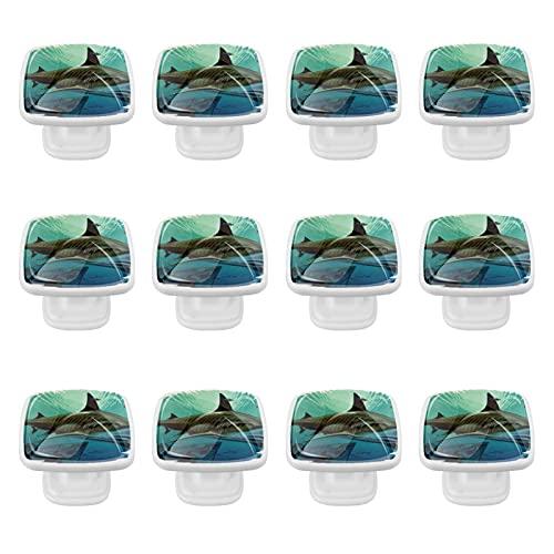 Tiradores de cristal para cajones negros con diseño de tiburón y acorazado hundido, asas para decoración de guardería, habitación de los niños, para aparador, armario, cocina, 35 mm