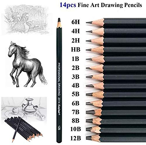 Drawing Sketch Pencil Set 14pcs Sketching Pencils 12B 10B 8B 7B 6B 5B 4B 3B 2B B HB 2H 4H 6H Graphite Pencils for Kid Adults Artists Student Beginners Professional