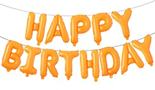 Happy Birthday Balloons, Aluminum Foil Banner Balloons for Birthday Party Decorations and Supplies (Orange)