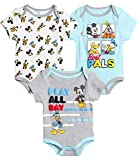Disney Baby Boys 3 Pack Bodysuits - Mickey Mouse & Friends (Newborn), Size 3-6 Months, Mickey Best Pals