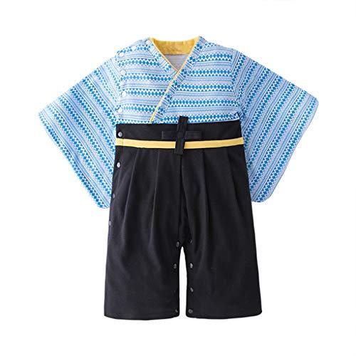 Julhold Toddler Baby Boys Moda Casual Lake Azul japonés de algodón Pijama Suelto a Rayas Estampado Kimono Mono Mono Mono Mono Mono Mono Traje 0-3 años Luce BLU 2-3 Años