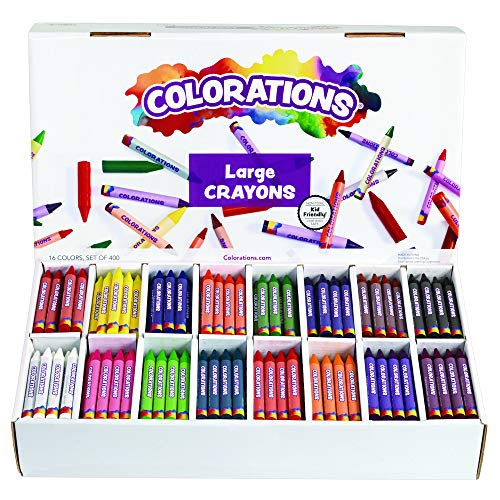 Colorations Large Easy-to-Grip Crayons in Sturdy Divided Storage Box, 16 Bright Colors - Set of 400
