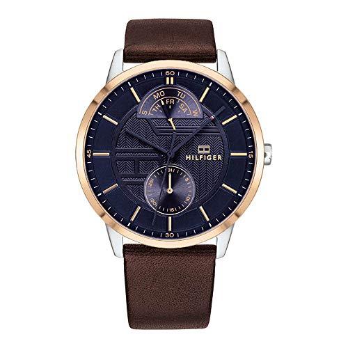 Tommy Hilfiger Herren Multi Zifferblatt Quarz Uhr mit Leder Armband 1791605
