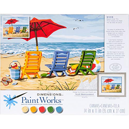 Peinture par numéro Kit 14 « X 11 »-plage chaise Trio