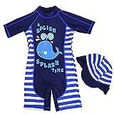 Gogokids Maillots de Bain pour GarçonsUne Pièce Combinaison Anti-UV avec Bonnet de Bain - Bleu - M/85-95cm, Taille Fabricant 4