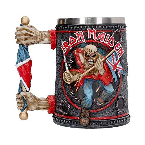 Iron Maiden - Boccale da birra 3D con logo Trooper Eddie, 500 ml