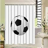 Fußball Duschvorhang Polyester Stoff Wasserdicht Mehltau Stoff 3D Print Design Für Home Badezimmer Dekor 180X200 cm Mit Haken