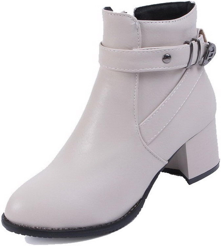 AmoonyFashion Women's Solid PU Kitten-Heels Zipper Closed Round Toe Boots