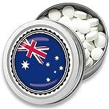 FAN Mint   3er Set Pfefferminz Bonbons mit Australien Flagge   Geschenk, Souvenir Australien Fahne   Bonbon-Dose, Fan-Artikel, Party Deko (Australien)