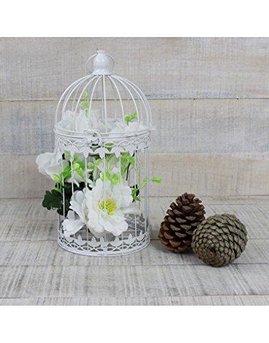 Hogar y Mas Jaula Decorativa Blanca de Metal para decoración - Diseño...