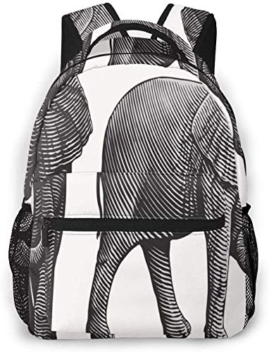 School Backpack for Teenager Youth Children Men Women Water Resistant Daypack Rucksack Casual Travel Backpack Trunk Etching Elephant Engraving 66