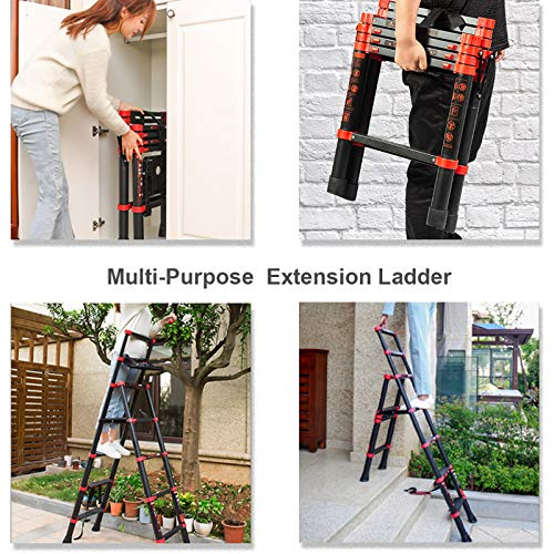 7 + 9 Extension Ladder Multi-Position A-Frame Telescoping Ladder - Aluminum Lightweight Adjustable Step Ladder - Portable Collapsible Ladder for RV Stairs (7+9 Steps)