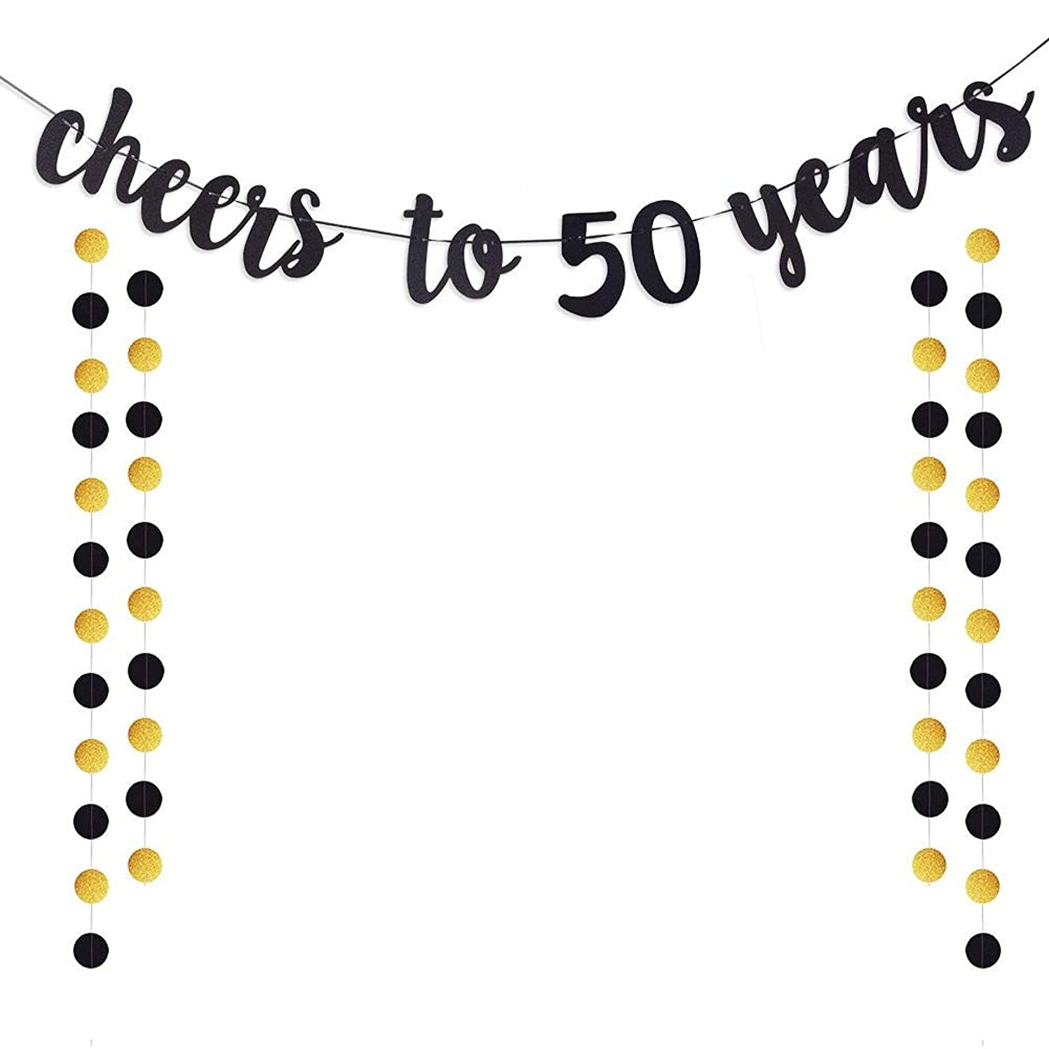 Moohome Cheers to 50 Years Gold Glitter Banner for Adult 50th Birthday Party Supplies Wedding Anniversary Party Decorations
