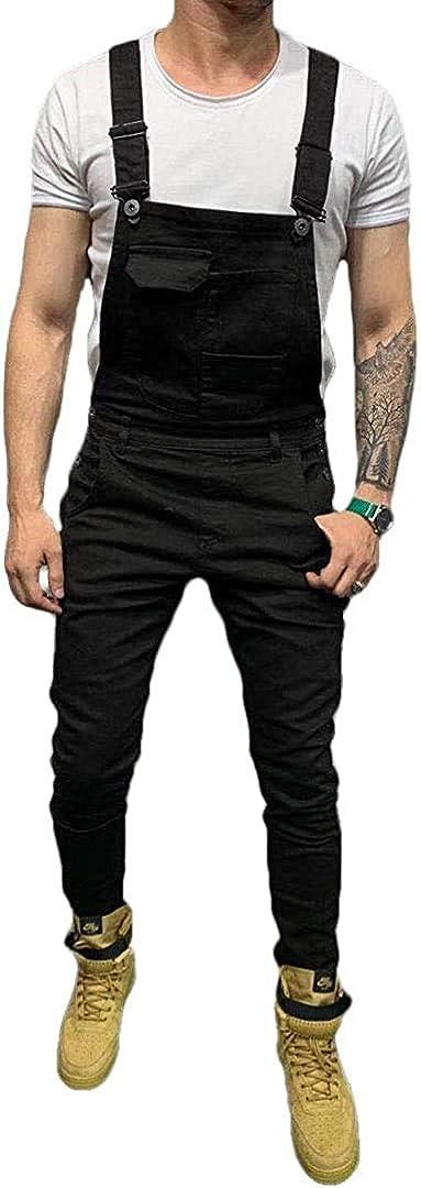 XULIANSEN Men's Denim Bib Limited price Overalls Rip New popularity Workwear Jumpsuit Fashion