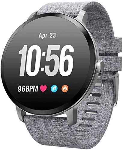 Pulsera de actividad física con monitor de frecuencia cardíaca, impermeable, inteligente, contador de pasos, contador de calorías, podómetro, reloj para niños, mujeres, hombres, gris