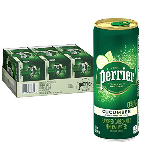 Perrier Cucumber Lime Flavored Carbonated Mineral Water, 8.45 Fl Oz (30 Pack) Cans