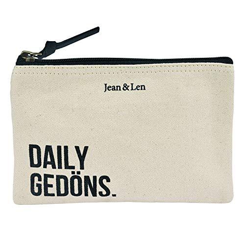 Jean&Len Kosmetiktasche, Kulturbeutel, Make-Up Bag, 100% recycelte Baumwolle, Schminktasche mit Reißverschluss, vielseitig einsetzbar, ideale Reisegröße (19cm)