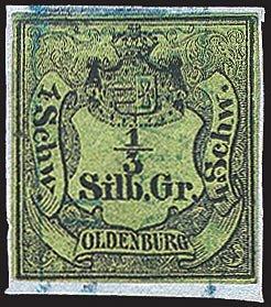 Goldhahn Oldenburg Nr. 1 gestempelt Briefmarken für Sammler